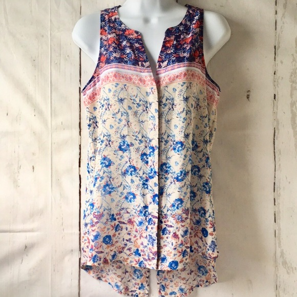 Sanctuary Sleeveless Floral Blouse Boho Mixed Tank